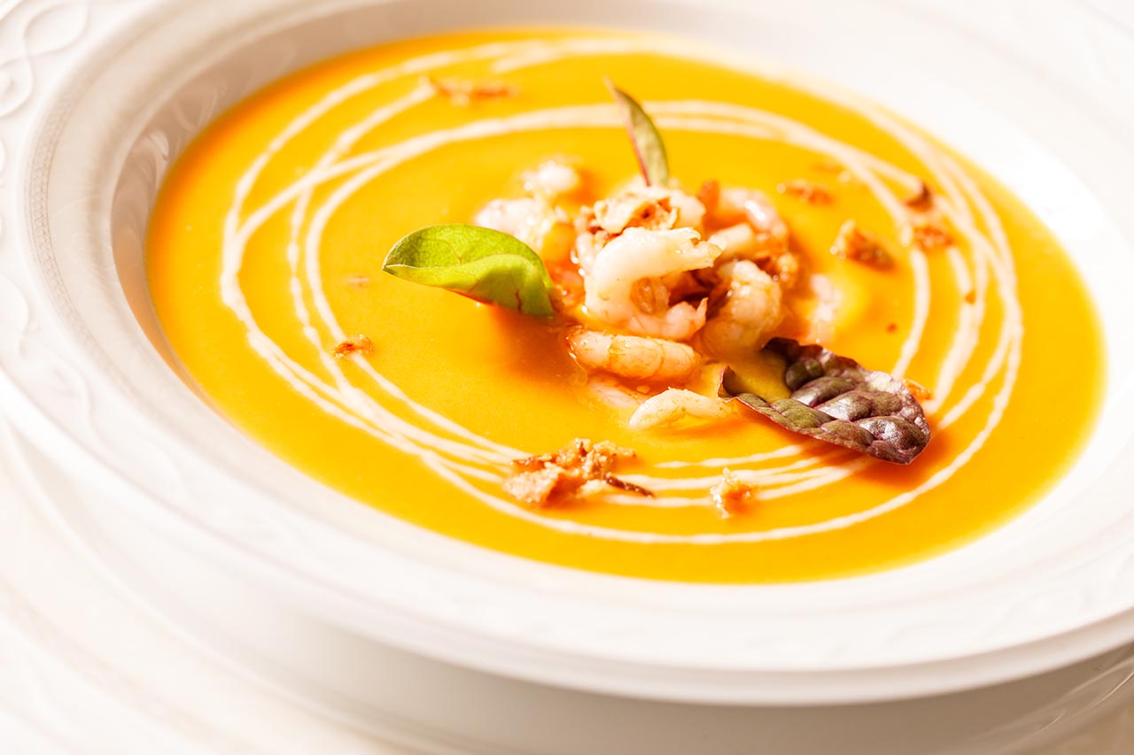Thai Style Pumpkin Soup with Prawns