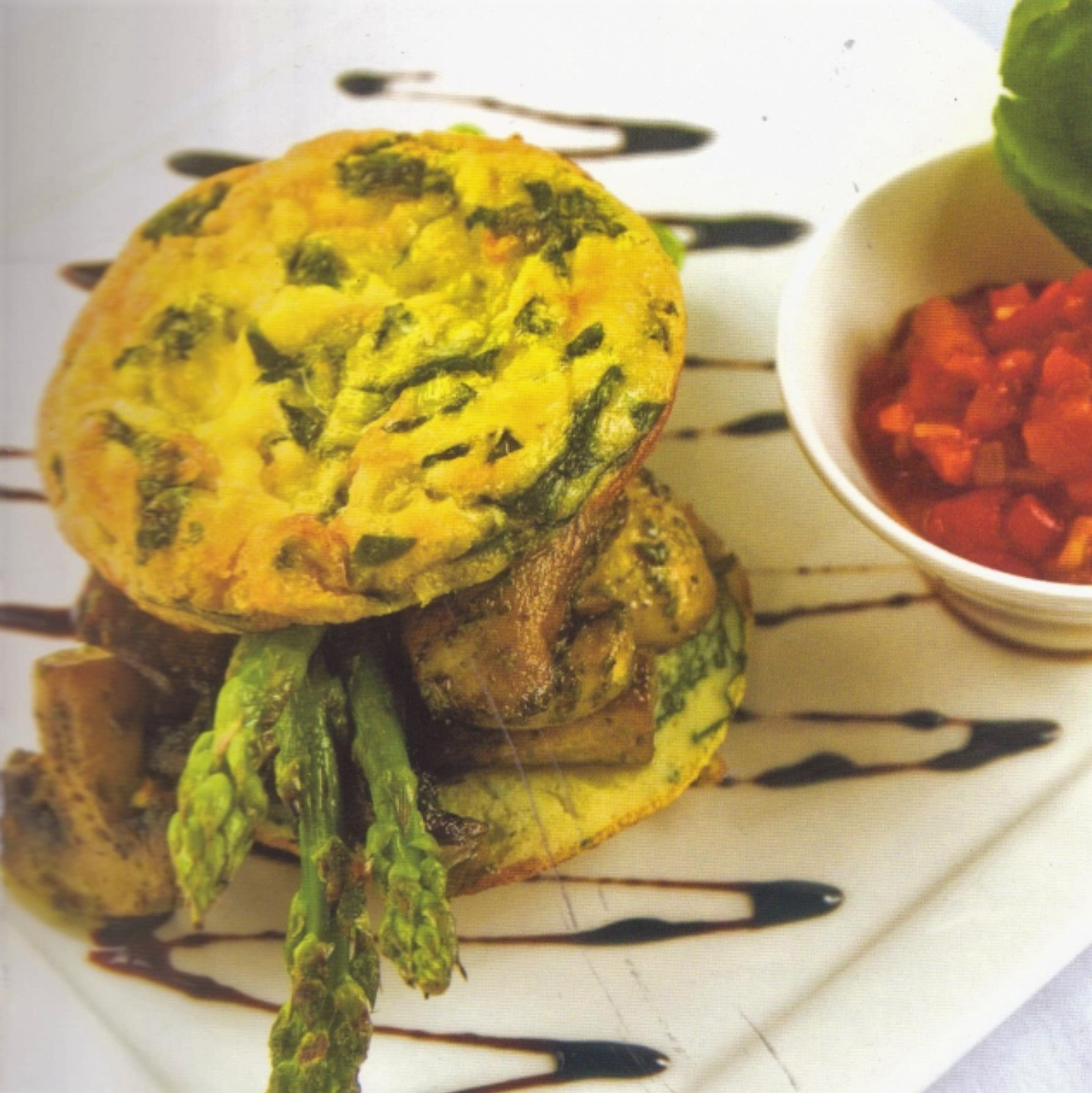 Breakfast Frittatas – with Pesto Mushrooms and asparagus